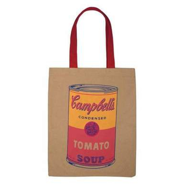 A tan canvas tote bag with red handles silkscreened with a yellow and red Campbell's Soup can.
