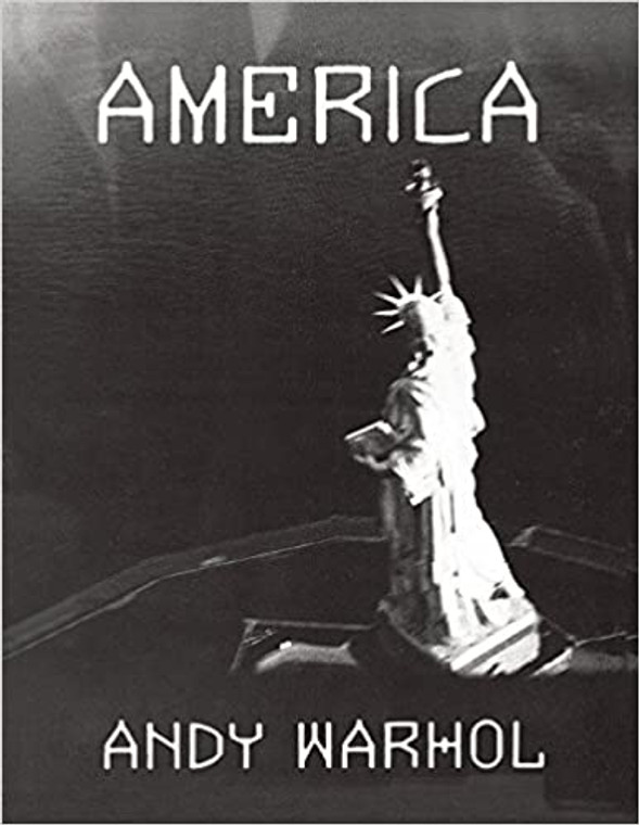 "A book cover with a black and white photograph of the Statue of Liberty from above and the title ""America"""