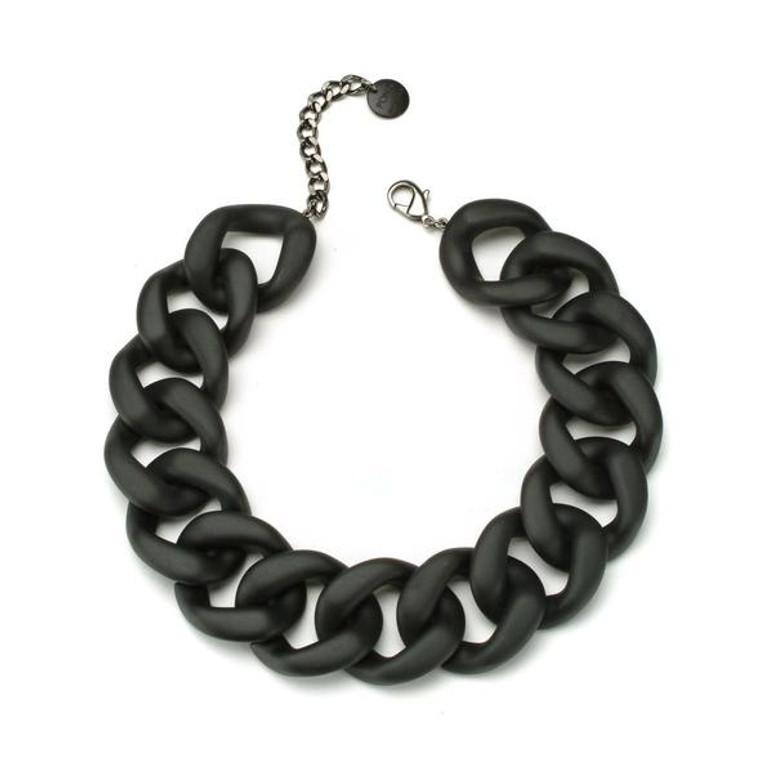 Ana Matte Black Resin Necklace