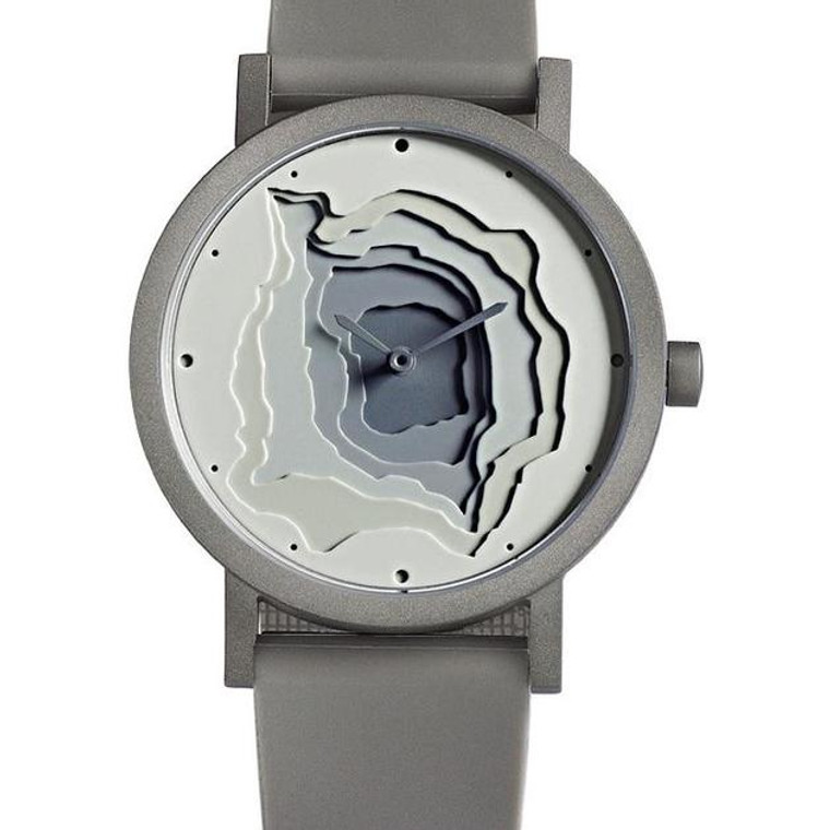 grey watch with topographic design face
