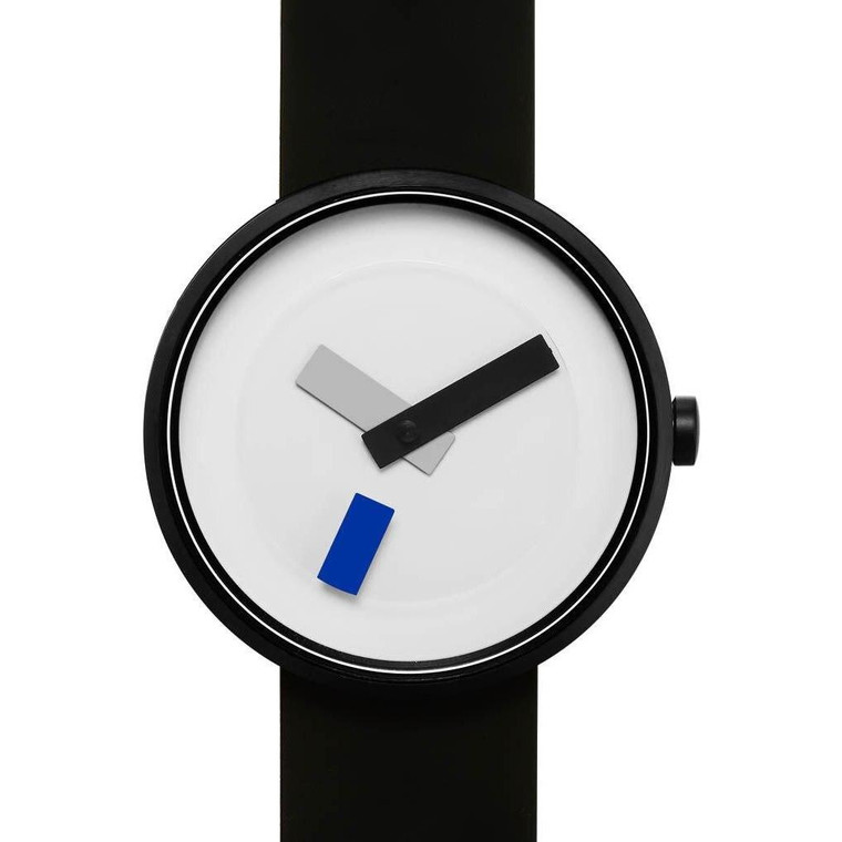 watch with black silicone band and blue hand