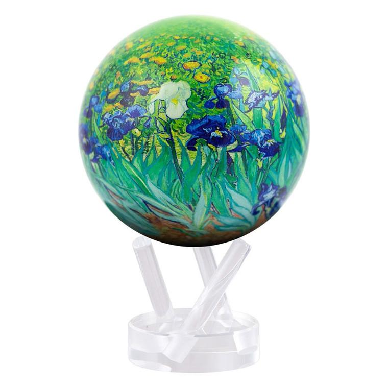 decorative globe featuring van Gogh's Irises