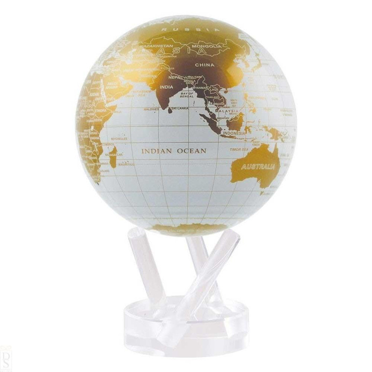 decorative globe featuring a white and gold map of the Earth