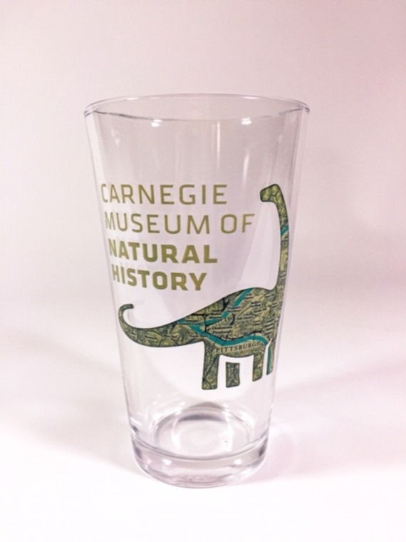 Pint glass 16 oz with Carnegie Museum of Natural History logo with Dippy silhouette map of Pittsburgh