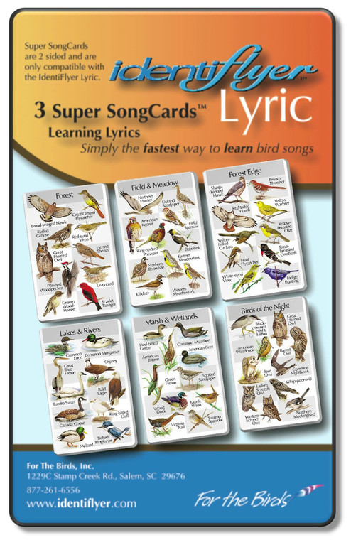 3 super song cards for the identiflyer sound unit. featuring 60 birds.
