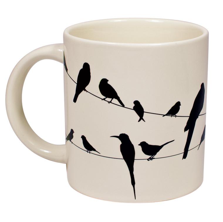 White mug 18 silhouettes of birds.