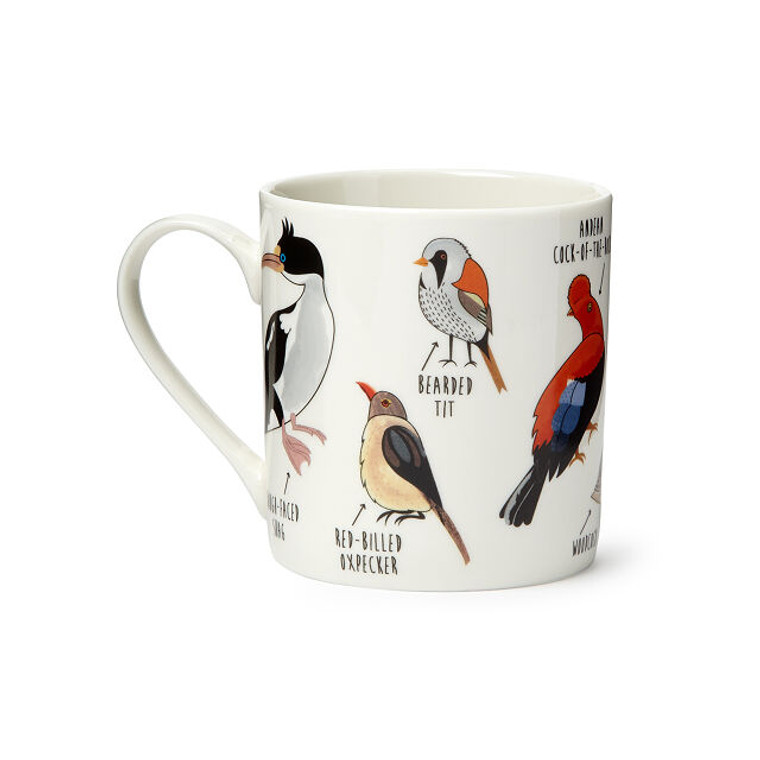 A blush and giggle-inducing cup for bird lovers with a cheeky senses of humor. White mug with painted birds with names.