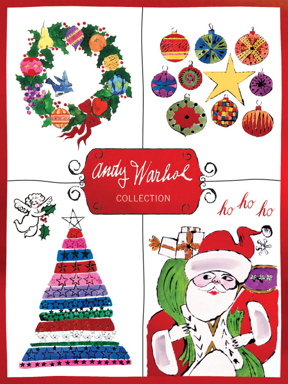 A box top showing colorful drawings of Christmas items.