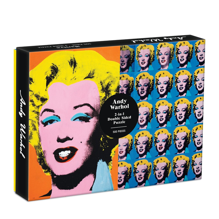 A box featuring two Marilyn Monroe works by Warhol, one orange and one blue.