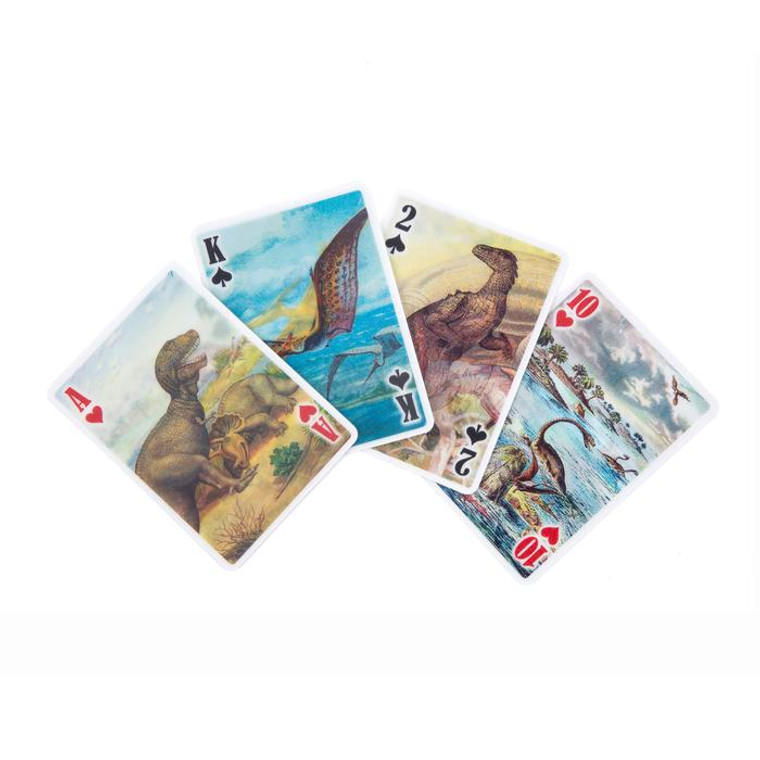 Poker size playing cards featuring lenticular dinosaur drawings.