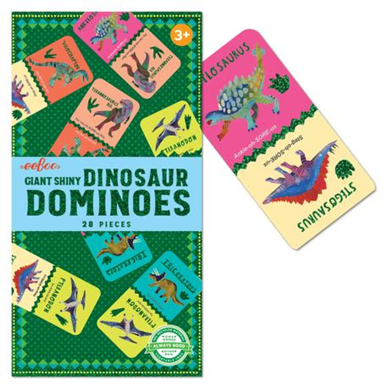 Jumbo Dinosaur dominoes with shiny holographic foil.