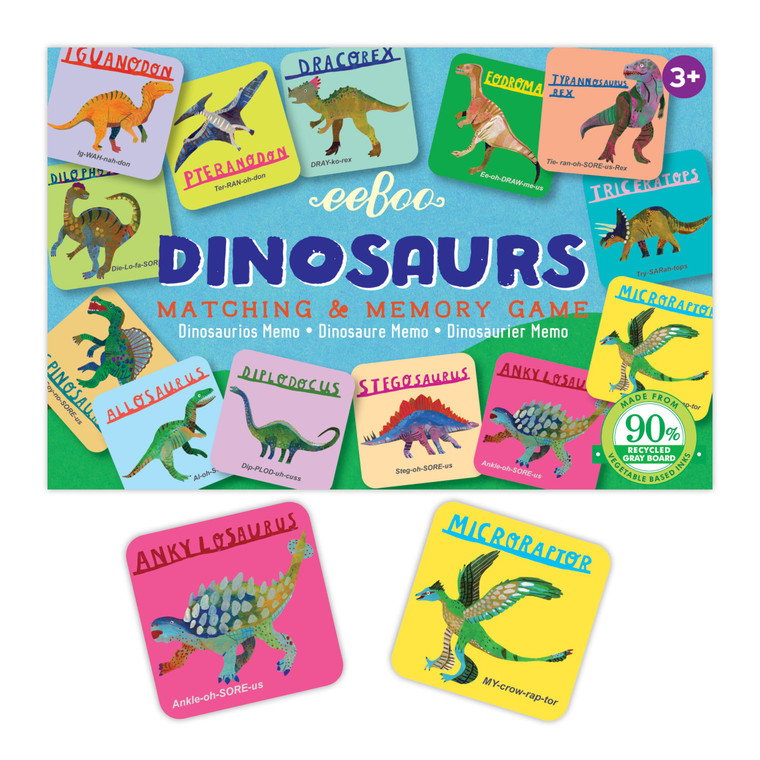 Box of 18 dinosaur pairs to match from memory