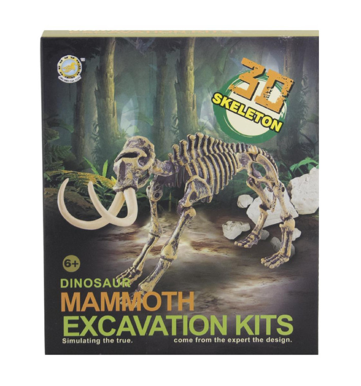 This excavation kit includes a plaster block containing the fossil of a Mammoth, a double sided mallet and pick tool, a chisel and a brush. Once extracted, the plastic Mammoth skeleton is yours to assemble.