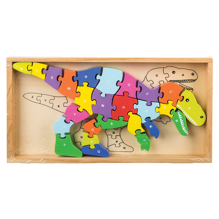 T-Rex shape puzzle, 26 bright and colorful pieces with a letter stamped on each piece and the wooden box.