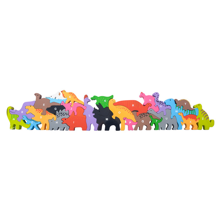 Wooden bright and colorful dinosaur puzzle shapes with the the alphabet stamped on each piece.