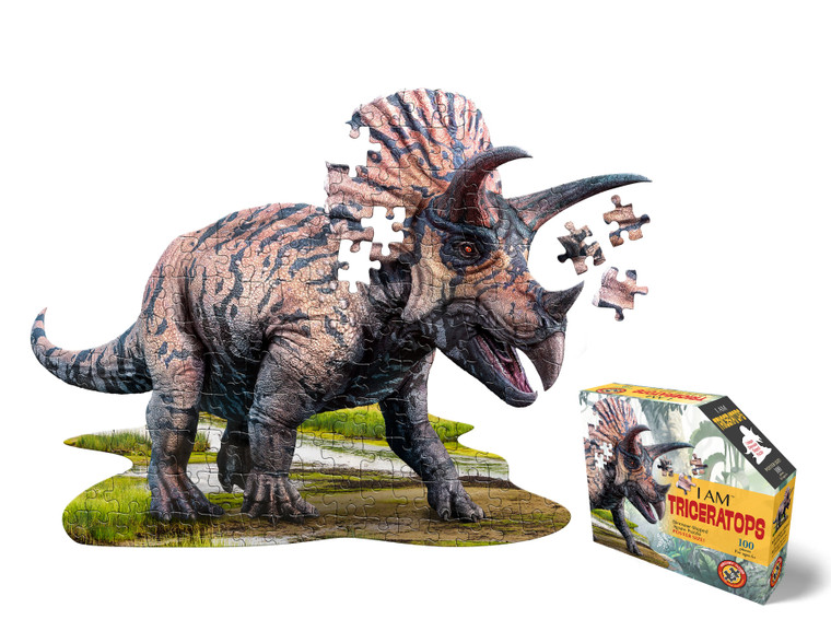 Triceratops shaped 100-piece jigsaw puzzle, poster-sized when completed. Packaged in a sealed poly bag and tamperproof box.