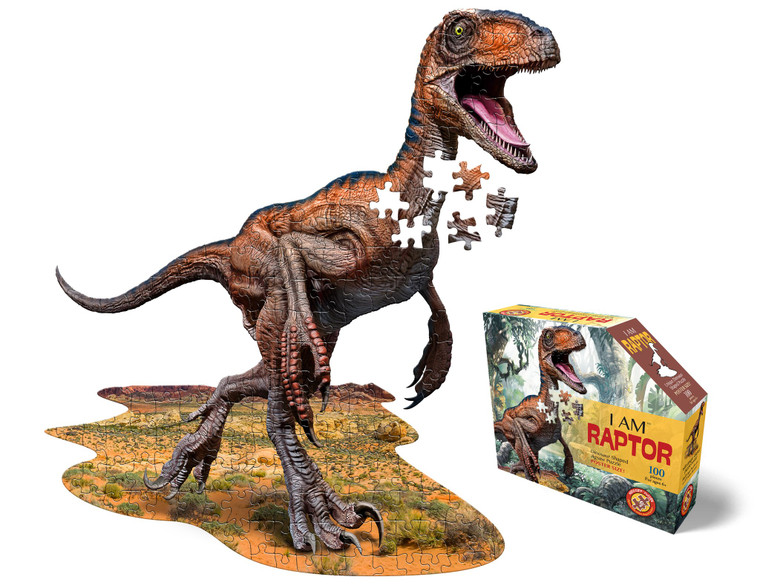 A raptor shaped puzzle, 100-pieces , poster-sized when completed. The puzzle pieces are oversized for easy handling. High gloss, photo-realistic animal image