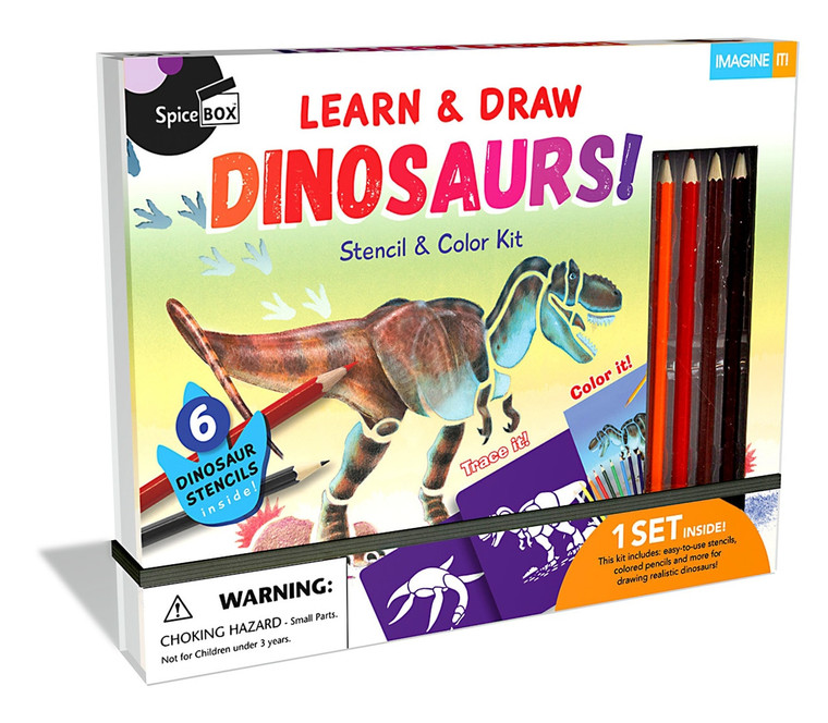 Trace and Color with this Dinosaur Stencil Kit! Go back to a time when huge, ferocious reptiles ruled the world! Learn about the incredible lives of these prehistoric beasts, and use the fun stencils to create amazing dinosaur art!