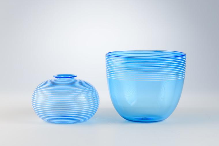 Sky Blue Threaded Bulb Vase (Left)  Sky Blue Threaded Bowl (Right)