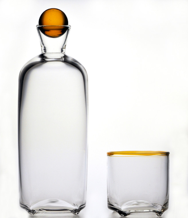 Clear Bottle Decanter with Whiskey Marble and Clear Glass Whiskey Wrap