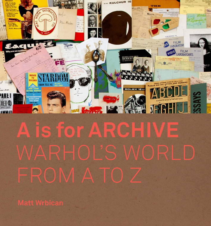 """A book cover with an image of paper ephemera with a brown wrap with the title """"A is for Archive: Warhol's World from A to Z"""""""