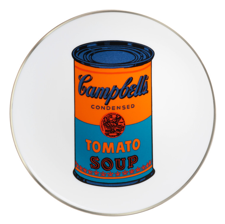 A Pop image of a Campbells Tomato Soup can in orange and teal on a white plate