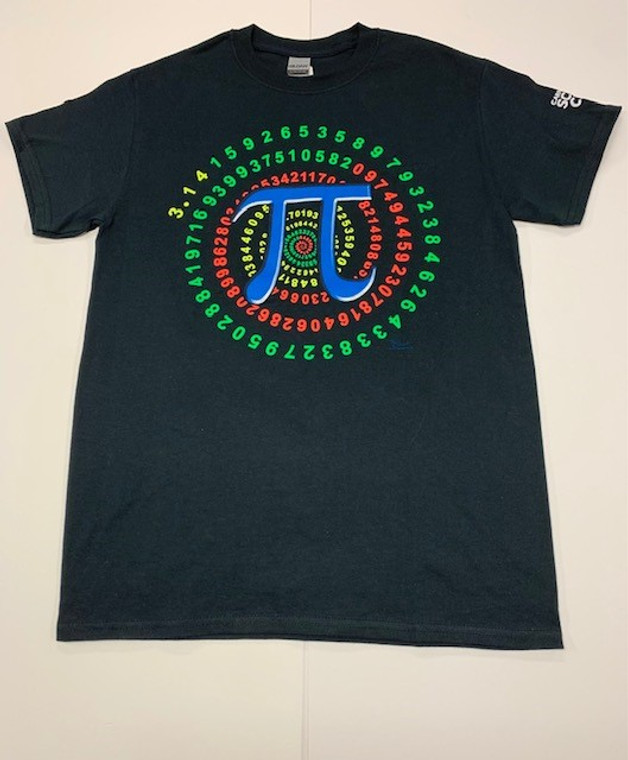 This image shows a black tee shirt with the Pi symbol in the middle.  It is superimposed on the swirl of numbers associated with Pi. The graphic is in yellow, red, blue and green.