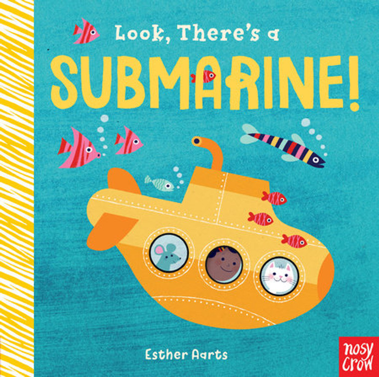 This image shows a blue book with a yellow submarine and fish on its cover.It has finger holes for the interactive adventure.
