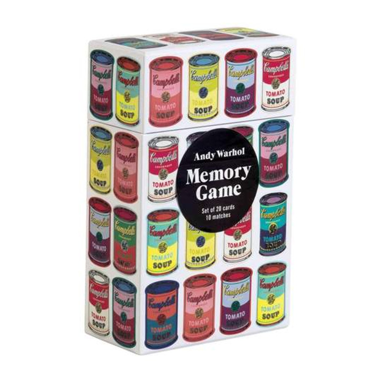 A tall white box with images of multicolor soup cans.