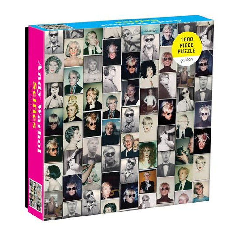A square box with multiple images of Andy Warhol.