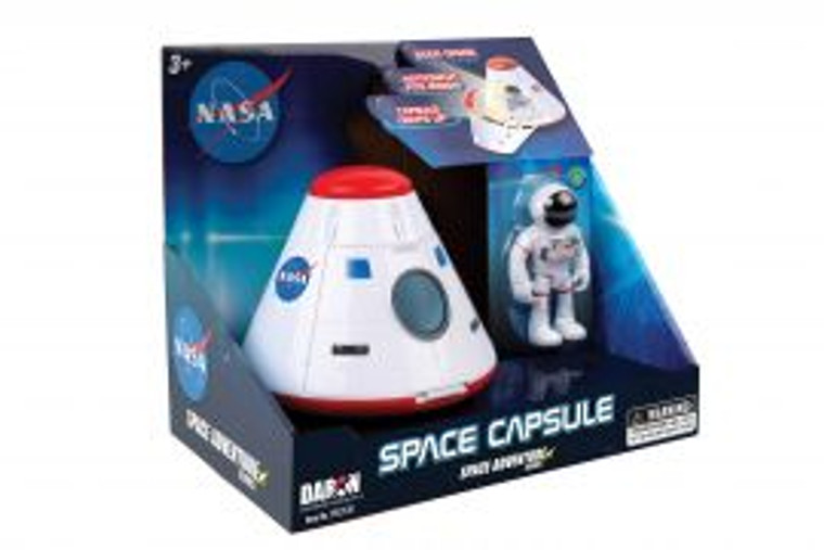 This image show a blue package with a toy space capsule and an toy astronaut.