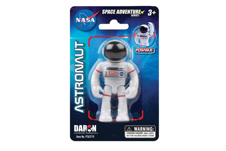 """This image shows a 3"""" posable astronaut in a white space suit."""