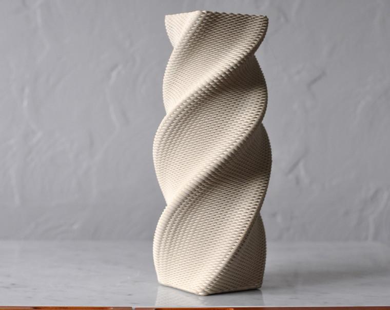 "Square Twist Vase 12"" Tall with Unglazed Exterior"