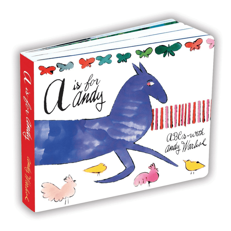 """A book with a drawing of a blue horse and the title """"A is for Andy""""."""