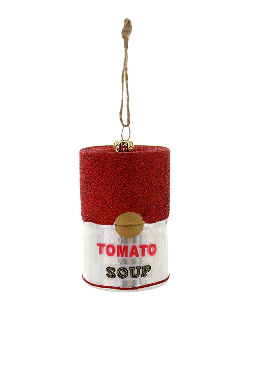 A glass ornament in the shape of a soup can with red and white label.