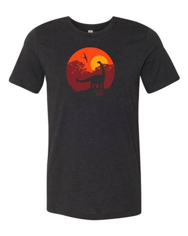 Dippy Tee heather black, sunset sky red/orange, CMNH logo left sleeve.