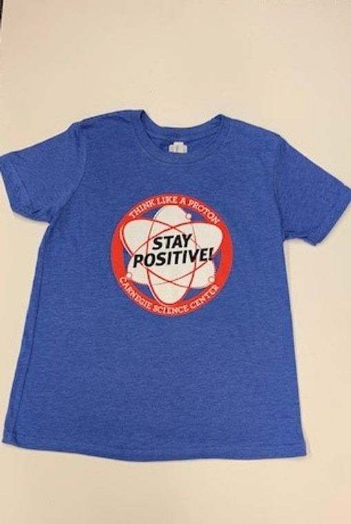 This image is a medium blue heather tee with a red circle in the middle of the front side.Inside the circle is a white and red graphic of a proton with the words stay positive in black letters. Our logo is located on the bottom of the circle.