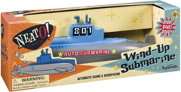 This image shows a box yellow, blue and orange box with an open portion exposing a blue and silver submarine wind up toy.