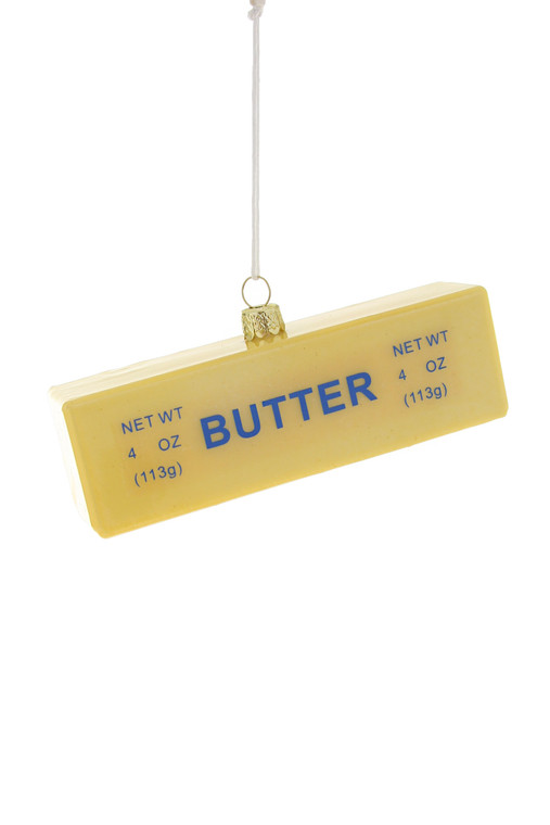 An ornament in the shape of a stick of butter.