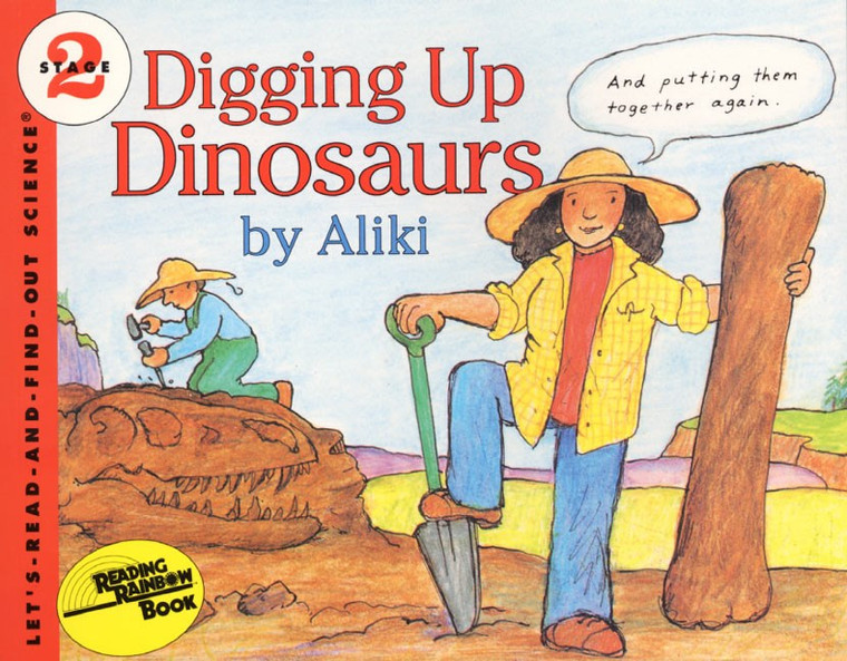 Picture a women dipping for Dinosaur bones, early reader ages 4to 8 years old.