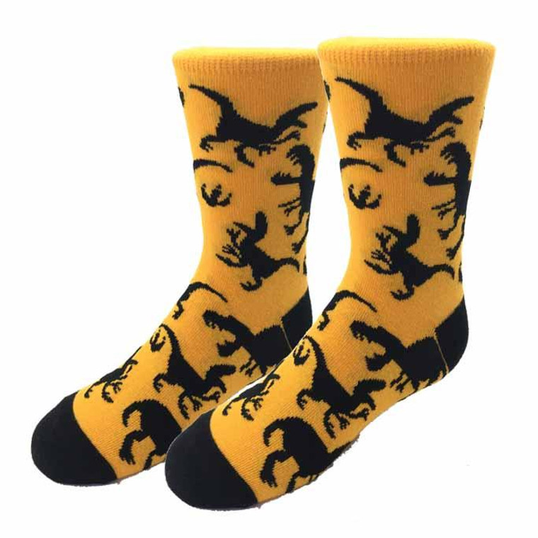 Gold knit sock with dinosaurs and claws in black, for youth ages 5-10 (Adult shoe size 1-5)