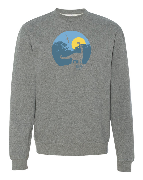 Grey sweatshirt with Dippy outlined in grey, the background is blue with yellow sky with the CMNH logo imprinted on the front of the garment.