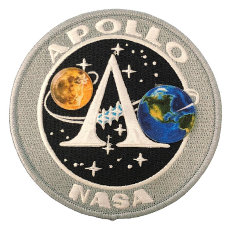 """This is an image of a round gray background embroidered patch with the moon and earth superimposed in the middle with """"A"""" in the middle."""