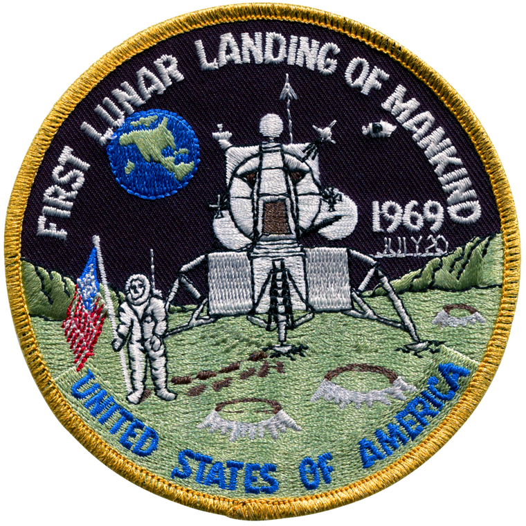 """This image shows a 4"""" round embroidered patch with the image of a man in a spacesuit and American flag on the moon.  A date of July 1969 shows in the patch, which is edged in gold thread."""