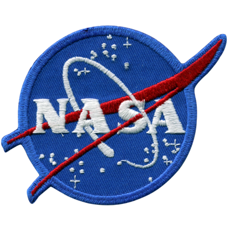 This image shows a round patch. It is the predominately blue patch with red and white accents.  The official NASA vector image.