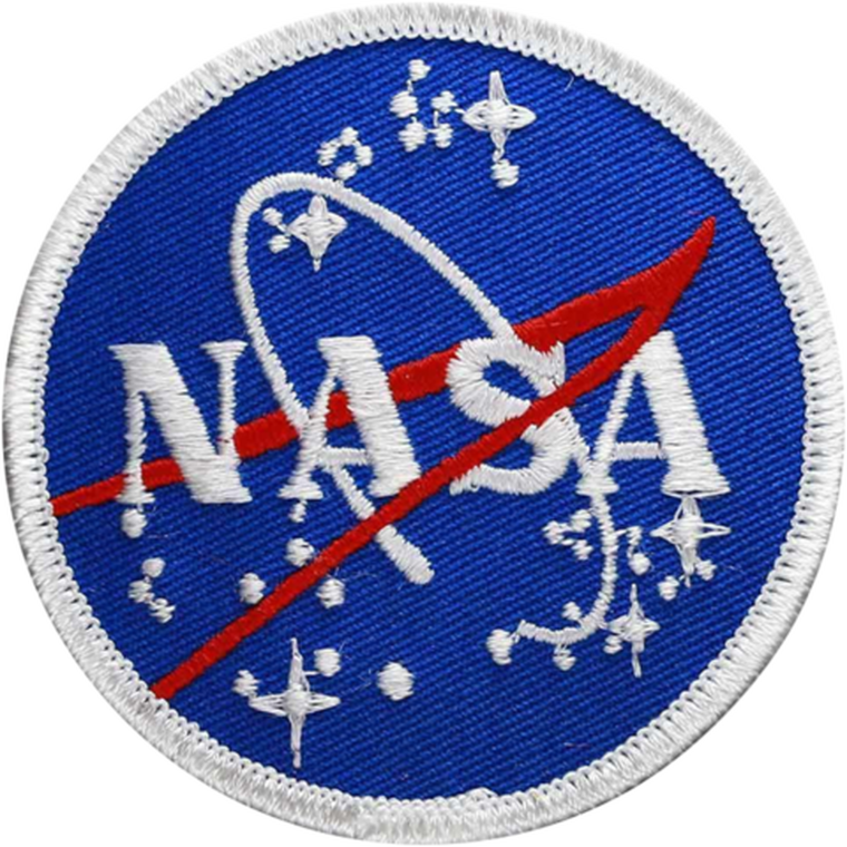 This image shows a small round patch with the traditional blue background with white and red accents.