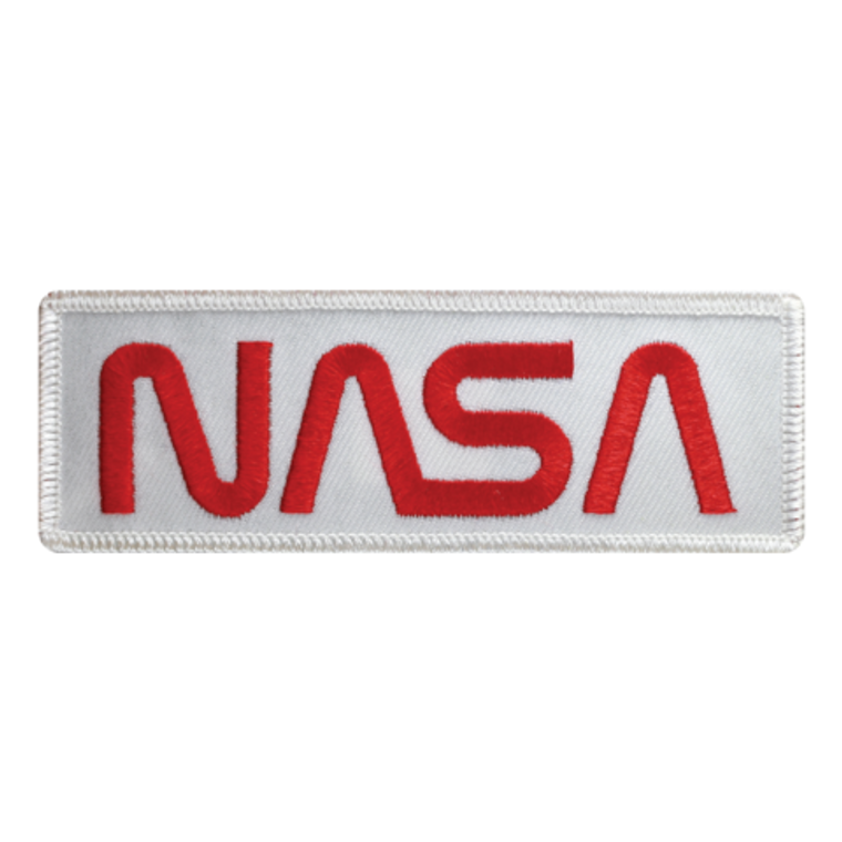 This image shows a rectangular patch that is all white with red embroidered NASA letters.