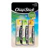 ChapStick® Tropical Paradise with Aloha Coconut, Key Lime & Mango Sunrise in three multi colored 0.12oz  tubes.