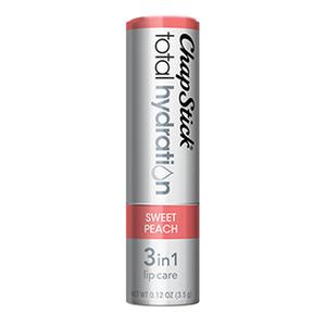 ChapStick® Total Hydration 3 in 1 Lip Care Sweet Peach lip balm in 0.12oz grey tube.