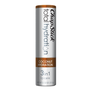 ChapStick® Total Hydration 3 in 1 Lip Care Coconut Hydration lip balm in 0.12oz grey tube.